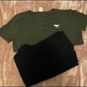 VS PINK Tee & Leggings Outfit Bundle